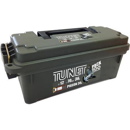 CARTOUCHE DE CHASSE TUNET PIGEON PACK BOITE PLASTIQUE - 36G - CALIBRE 12