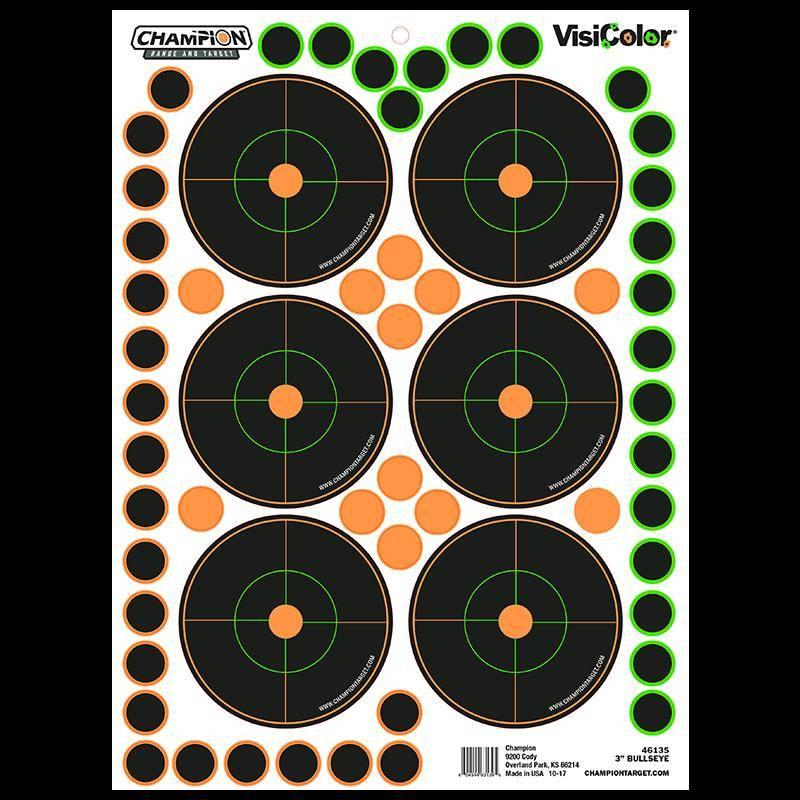 Cible Champion Visicolor Adhesives Avec Pastilles Integrees - 6 X 7.6Cm