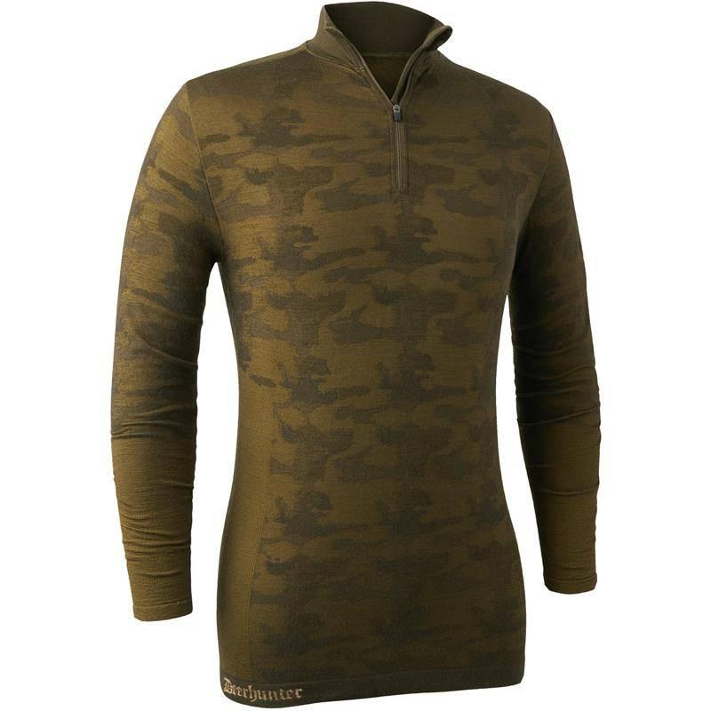 Sous Vetement Homme Deerhunter Camou Wool Zip Neck - Beech Green
