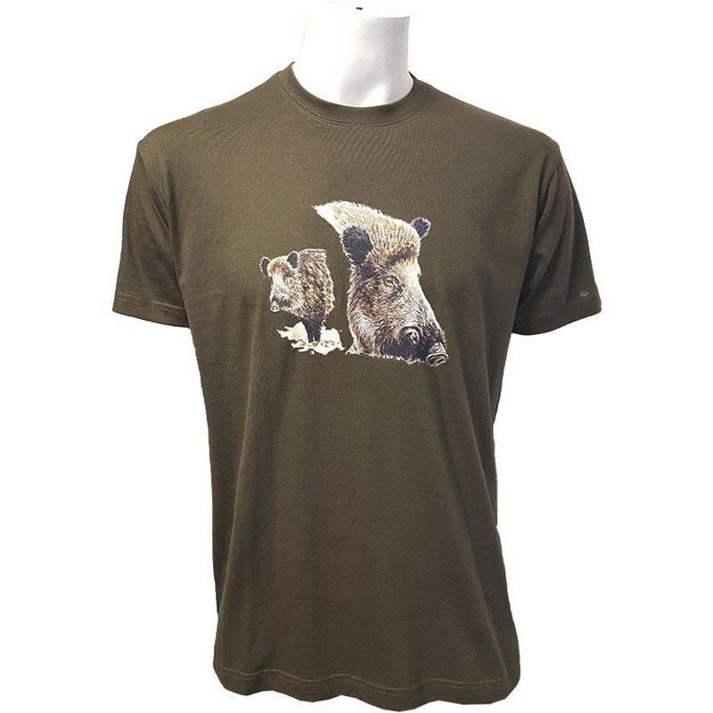 Tee Shirt Manches Courtes Homme Bartavel 2 Sangliers - Kaki