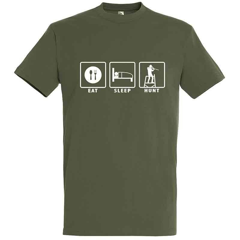 Tee Shirt Manches Courtes Homme Bartavel Eat Sleep Hunt - Kaki