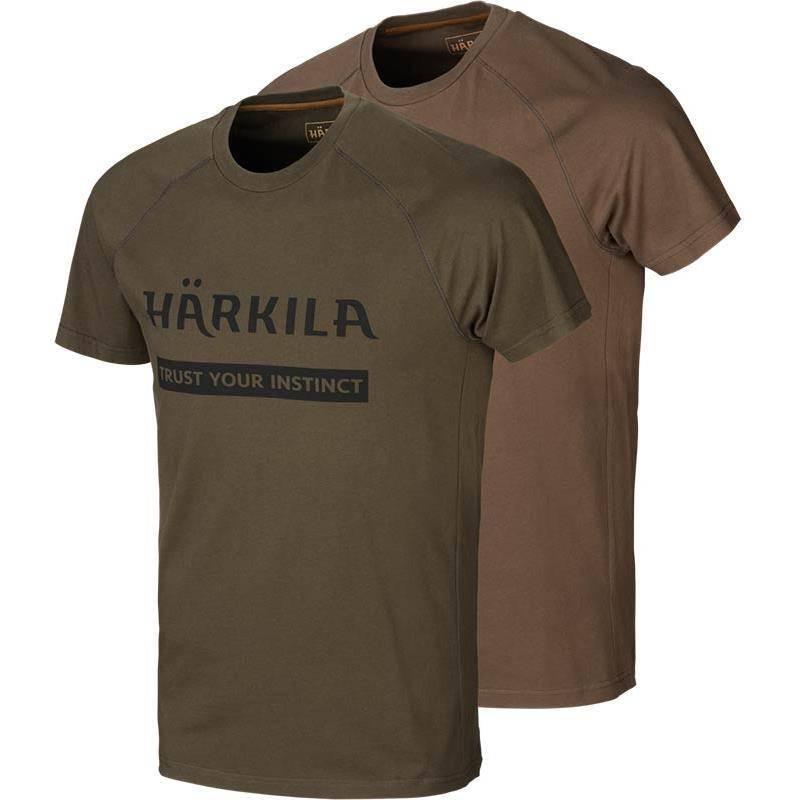 Tee Shirt Manches Courtes Homme Harkila Logo - Vert/Marron - Par 2