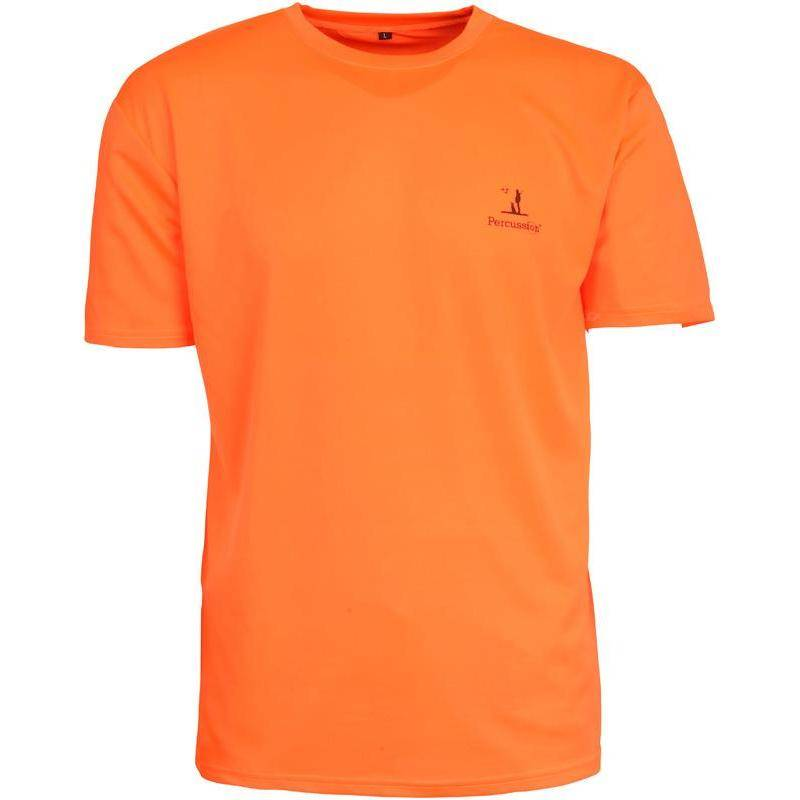 Tee Shirt Manches Courtes Homme Percussion Chasse - Orange