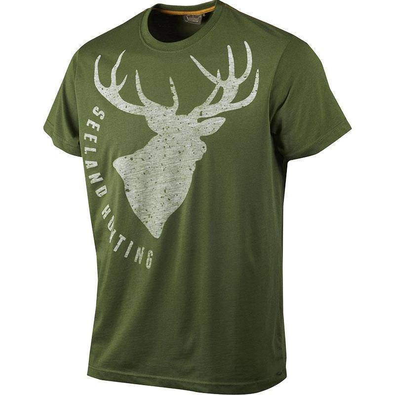 Tee Shirt Manches Courtes Homme Seeland Fading Stag - Vert